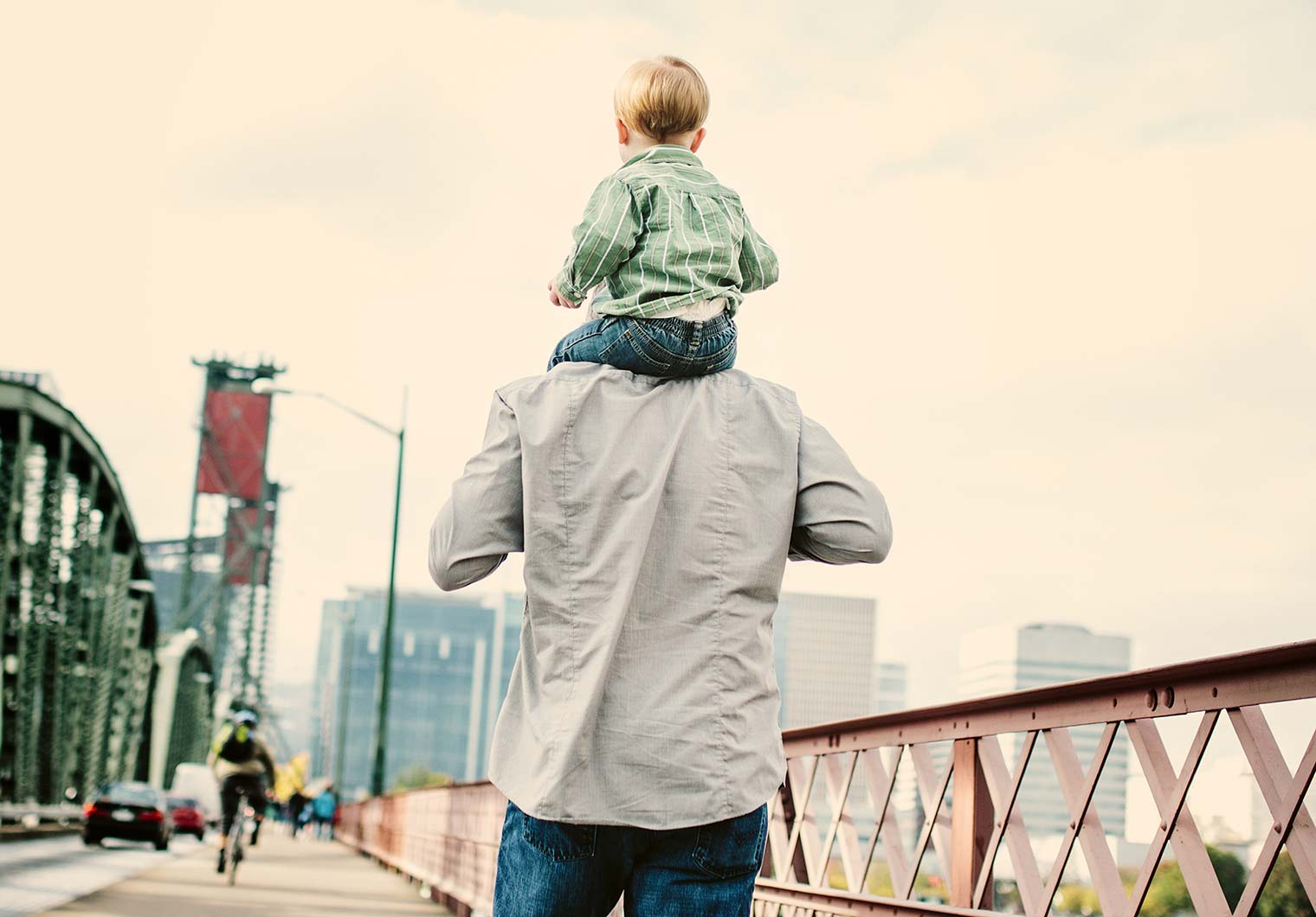 child on shoulders